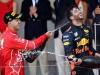 MONTE-CARLO, MONACO - MAY 28: Race winner Sebastian Vettel of Germany and Ferrari celebrates with third place finished Daniel Ricciardo of Australia and Red Bull Racing on the podium during the Monaco Formula One Grand Prix at Circuit de Monaco on May 28, 2017 in Monte-Carlo, Monaco.  (Photo by Mark Thompson/Getty Images)